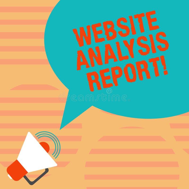 Έκθεση ανάλυσης ιστοχώρου κειμένων γραψίματος λέξης Επιχειρησιακή έννοια για τη διαδικασία τη συμπεριφορά Megaphone επισκεπτών ισ ελεύθερη απεικόνιση δικαιώματος