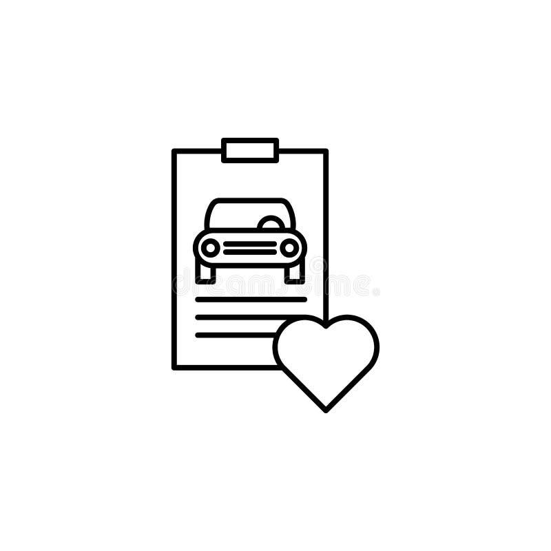 Έκθεση, αυτοκίνητο, εικονίδιο περιλήψεων καρδιών Μπορέστε να χρησιμοποιηθείτε για τον Ιστό, λογότυπο, κινητό app, UI, UX απεικόνιση αποθεμάτων