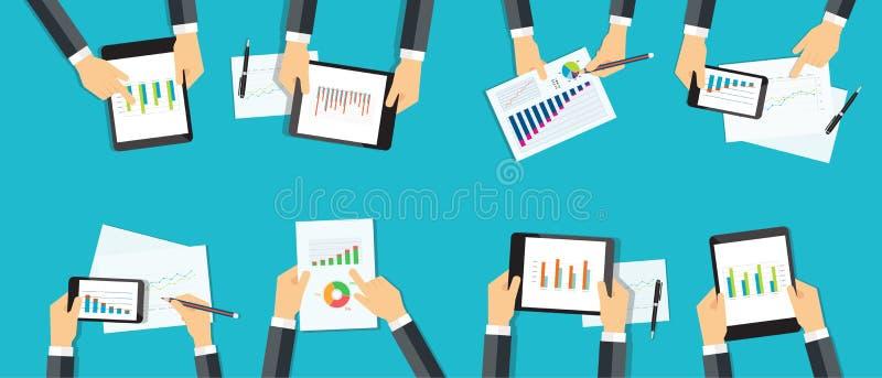 Έκθεση επιχειρησιακών αναλυτική γραφικών παραστάσεων ομάδας προγραμματισμός εμπορικής επένδυσης διανυσματική απεικόνιση