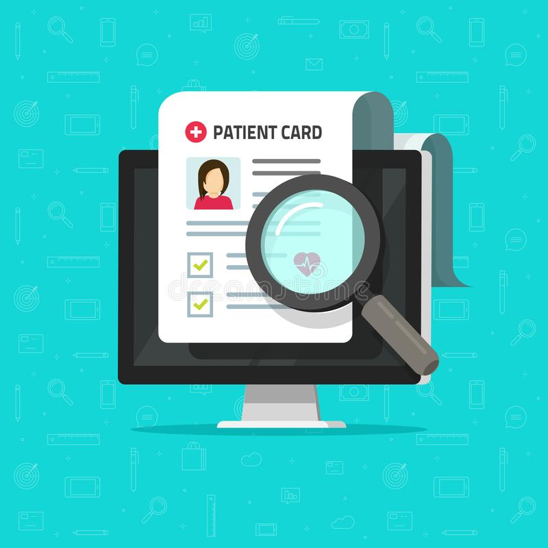 Έκθεση ιατρικής έρευνας on-line ή διανυσματική, επίπεδη υγεία κινούμενων σχεδίων συμβάσεων ή έγγραφο ιατρικών αναφορών, υπομονετι απεικόνιση αποθεμάτων