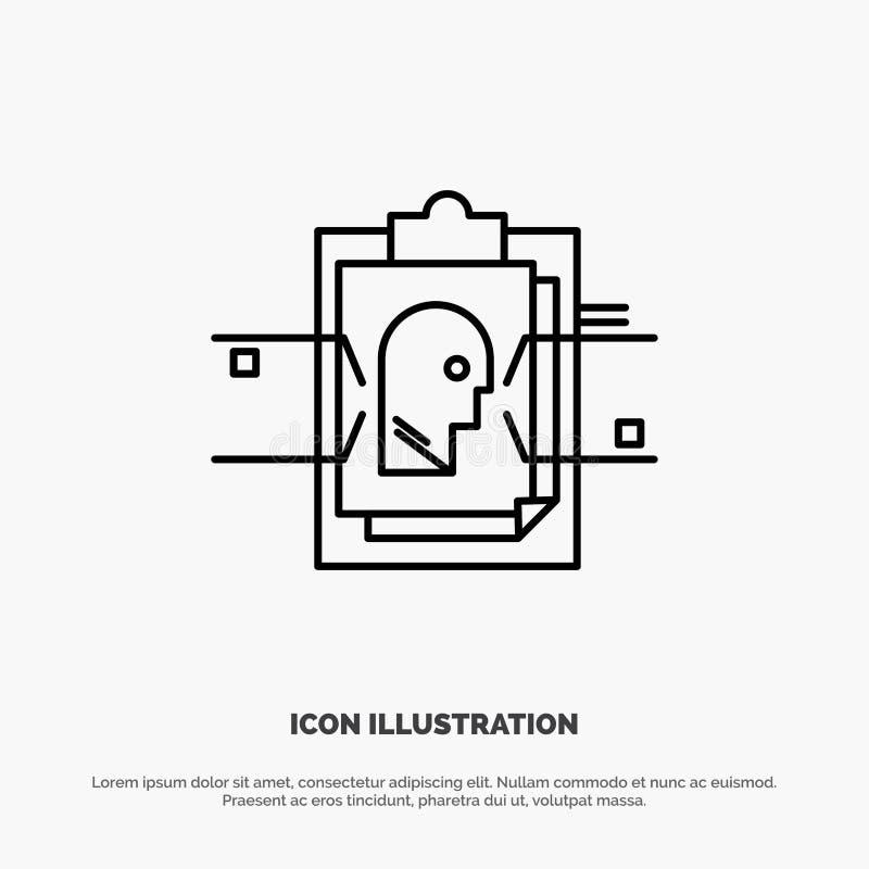 Έκθεση, κάρτα, αρχείο, χρήστης - ταυτότητα, διάνυσμα εικονιδίων γραμμών απεικόνιση αποθεμάτων