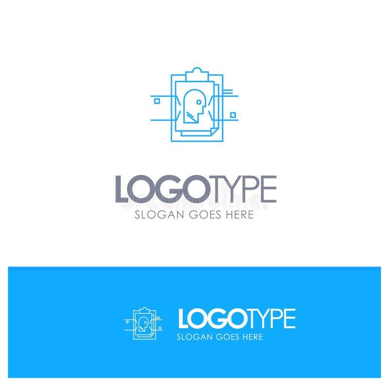 Έκθεση, κάρτα, αρχείο, χρήστης - ταυτότητα, μπλε λογότυπο περιλήψεων με τη θέση για το tagline απεικόνιση αποθεμάτων