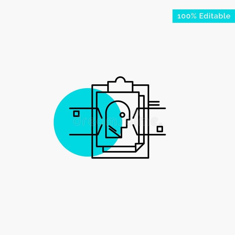 Έκθεση, κάρτα, αρχείο, χρήστης - ταυτότητα, τυρκουάζ διανυσματικό εικονίδιο σημείου κυριώτερων κύκλων απεικόνιση αποθεμάτων