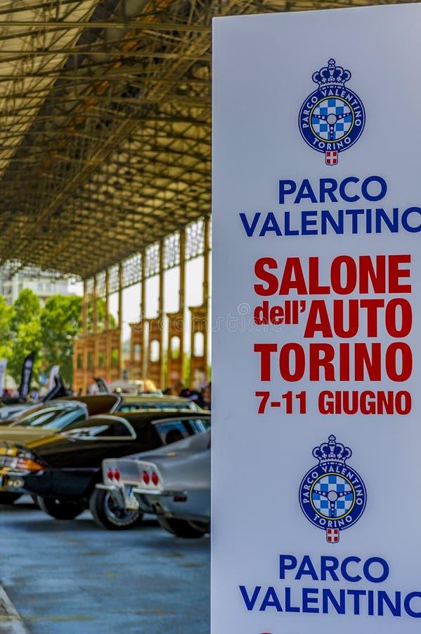 Έκθεση των αμερικανικών αυτοκινήτων στο δημόσιο πάρκο Τορίνο της Dora, παρδαλή στοκ εικόνες