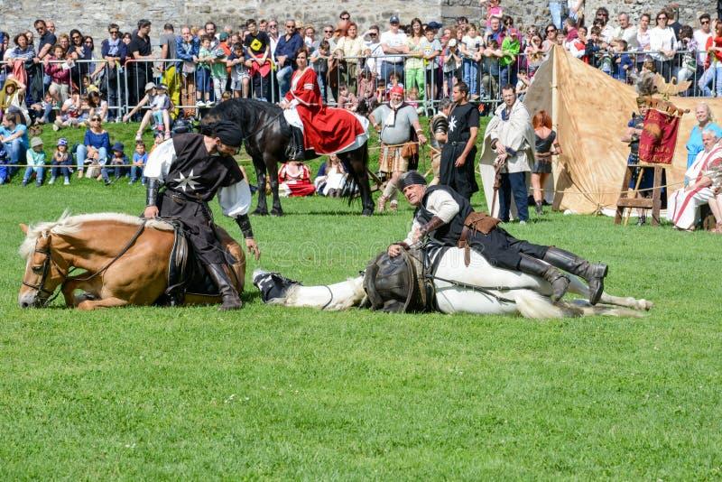 Έκθεση των μεσαιωνικών ιπποτών στο κάστρο Castelgrande σε Bellinz στοκ φωτογραφία με δικαίωμα ελεύθερης χρήσης