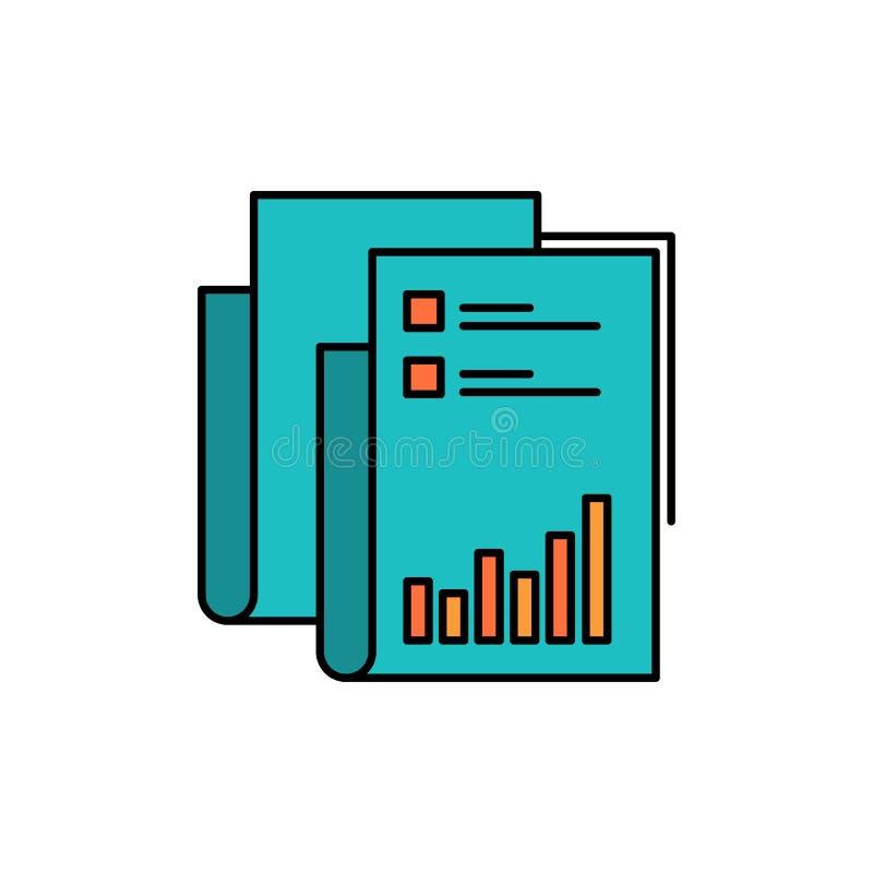 Έκθεση, Analytics, λογιστικός έλεγχος, επιχείρηση, στοιχεία, μάρκετινγκ, επίπεδο εικονίδιο χρώματος εγγράφου Διανυσματικό πρότυπο απεικόνιση αποθεμάτων