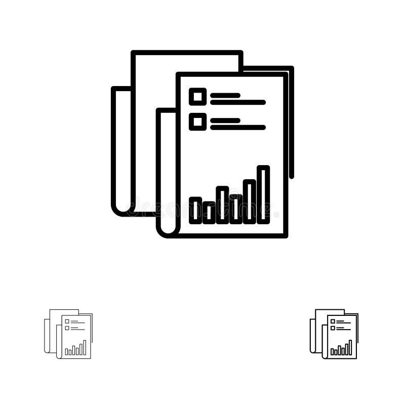 Έκθεση, Analytics, λογιστικός έλεγχος, επιχείρηση, στοιχεία, μάρκετινγκ, τολμηρό και λεπτό μαύρο σύνολο εικονιδίων γραμμών εγγράφ απεικόνιση αποθεμάτων