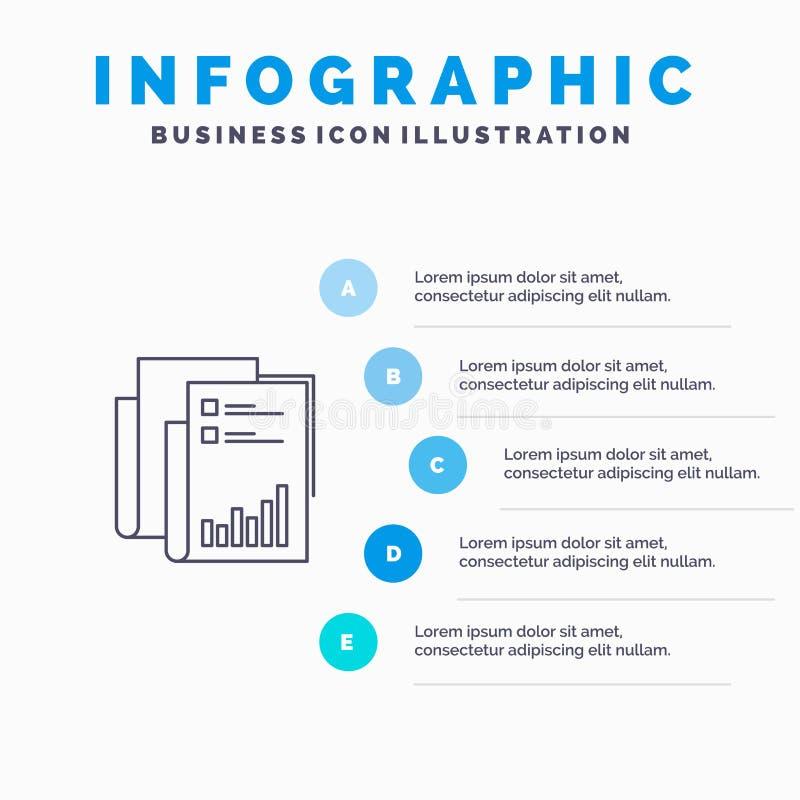 Έκθεση, Analytics, λογιστικός έλεγχος, επιχείρηση, στοιχεία, μάρκετινγκ, εικονίδιο γραμμών εγγράφου με το υπόβαθρο infographics π διανυσματική απεικόνιση