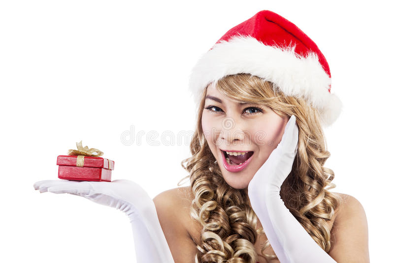 Έκπληκτη γυναίκα Χριστουγέννων στοκ φωτογραφίες με δικαίωμα ελεύθερης χρήσης