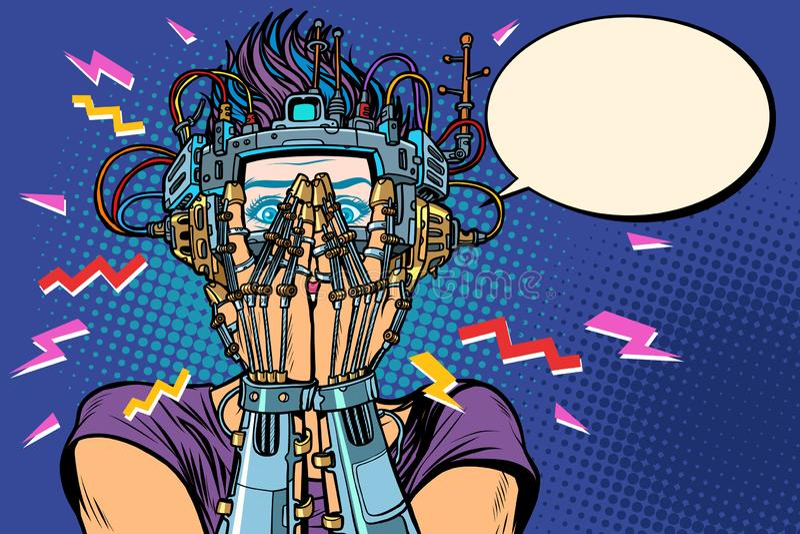 Έκπληκτη cyborg γυναίκα στα γυαλιά VR διανυσματική απεικόνιση