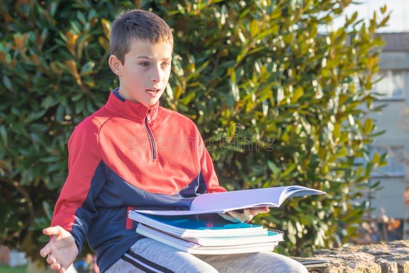 Έκπληκτος έφηβος με τα εγχειρίδια και τα σημειωματάρια στοκ εικόνα με δικαίωμα ελεύθερης χρήσης