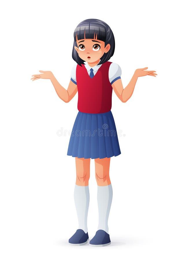Έκπληκτο ασιατικό κορίτσι σχολικών σπουδαστών που απαξιεί τους ώμους Απομονωμένη διανυσματική απεικόνιση ελεύθερη απεικόνιση δικαιώματος