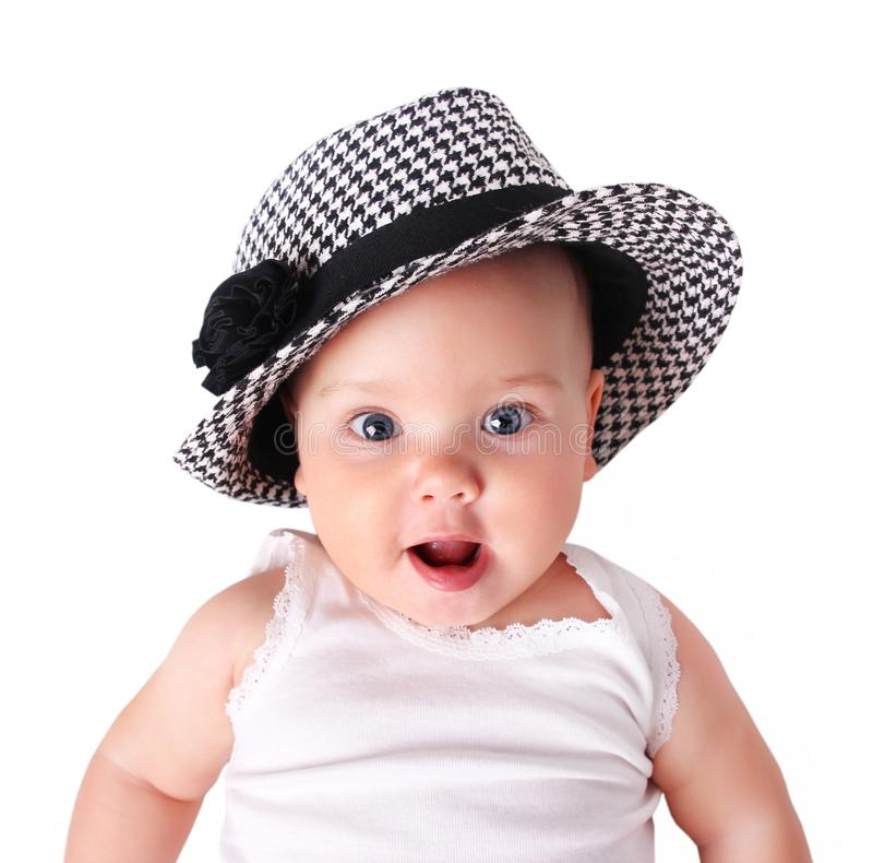 Έκπληκτο μωρό πορτρέτο που απομονώνεται στοκ εικόνες