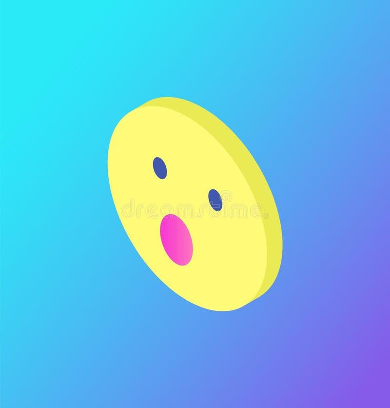 Έκπληκτο προσώπου διάνυσμα εικονιδίων δικτύων Emoji κοινωνικό διανυσματική απεικόνιση