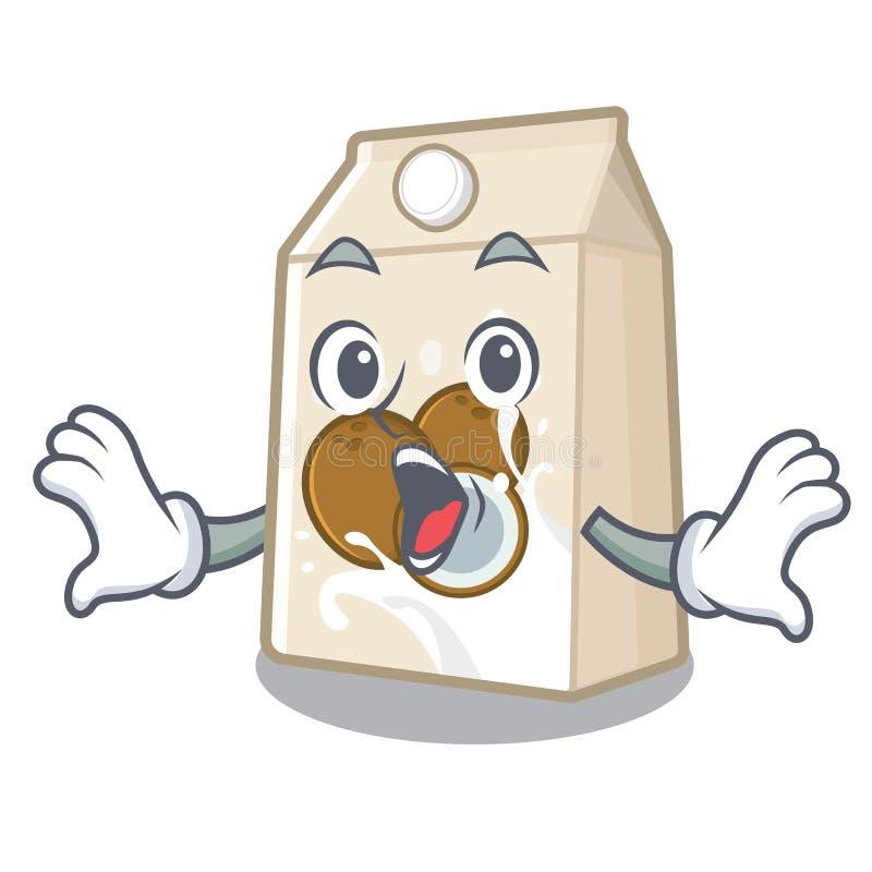 Έκπληκτο cococnut γάλα στη μορφή μασκότ ελεύθερη απεικόνιση δικαιώματος