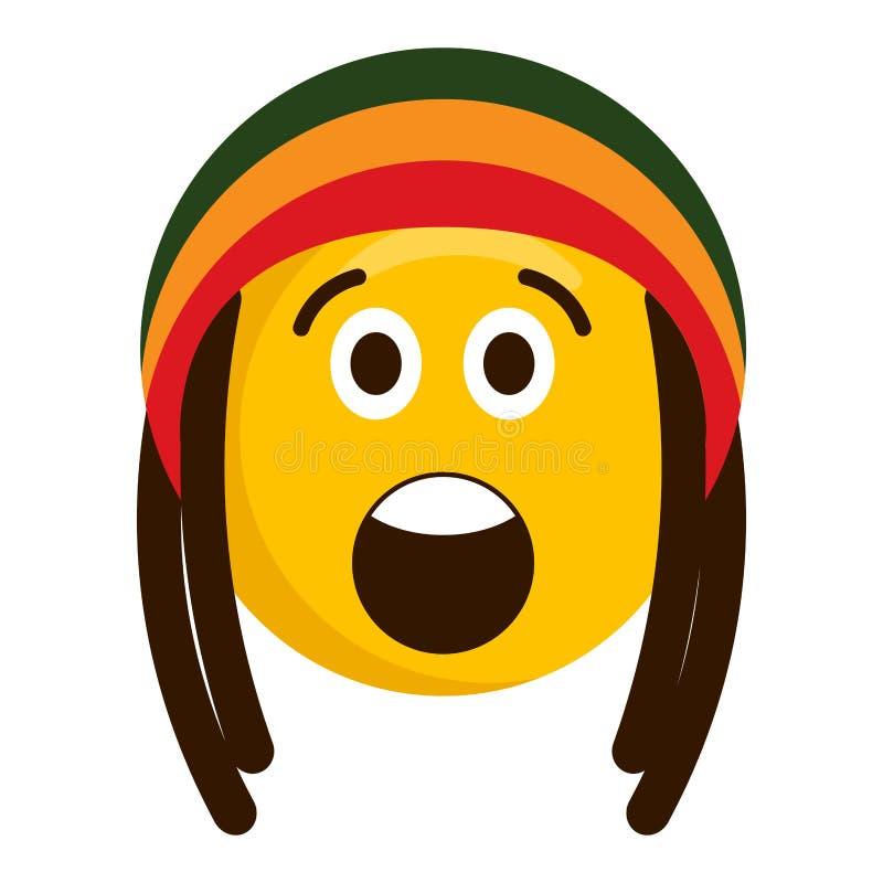 Έκπληκτο emoji με το καπέλο reggae διανυσματική απεικόνιση