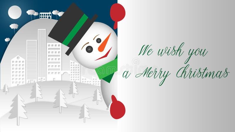 έκπληξη Ο χιονάνθρωπος δεν αντιστέκεται για να κλίνει έξω και να σας δώσει το τεράστιο χαμόγελό του στοκ εικόνες με δικαίωμα ελεύθερης χρήσης