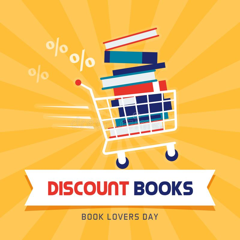Έκπτωση βιβλίων την ημέρα εραστών βιβλίων απεικόνιση αποθεμάτων