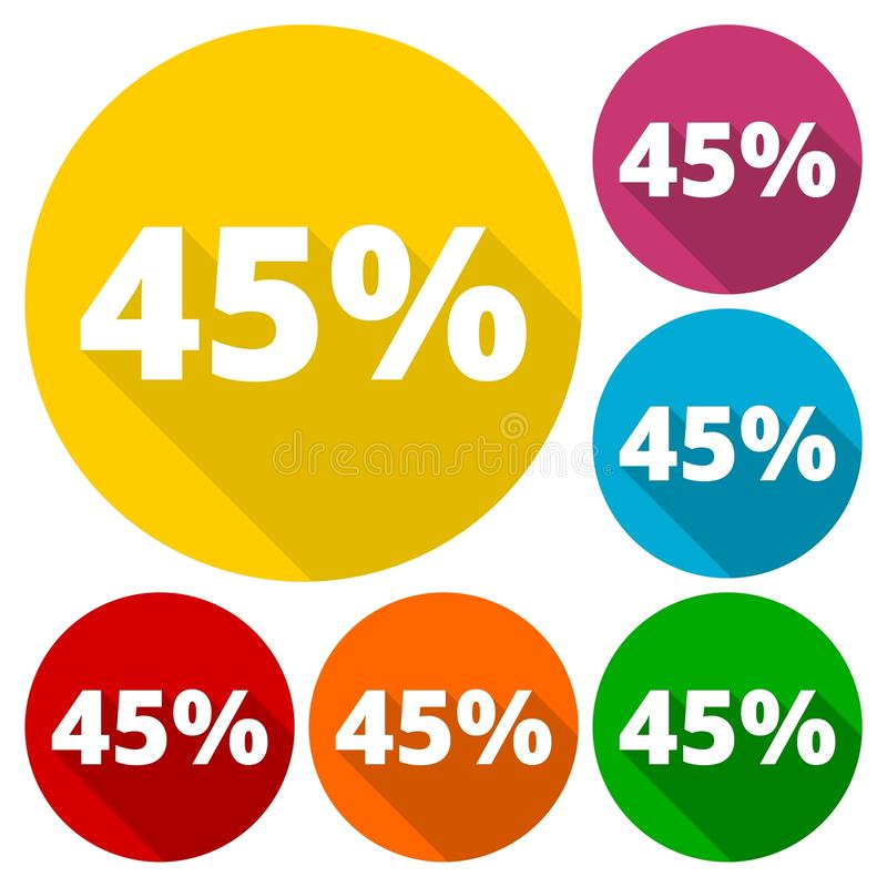 Έκπτωση σαράντα πέντε κυκλικά εικονίδια 45 τοις εκατό που τίθενται με τη μακριά σκιά ελεύθερη απεικόνιση δικαιώματος