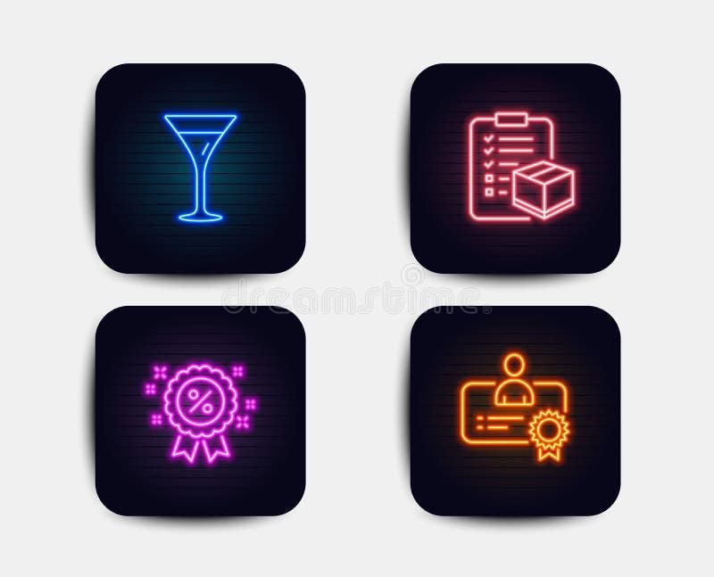 Έκπτωση, Martini γυαλί και εικονίδια πινάκων ελέγχου δεμάτων σημάδι πιστοποιητικών Πώληση που ψωνίζει, κρασί, έλεγχος διοικητικών διανυσματική απεικόνιση