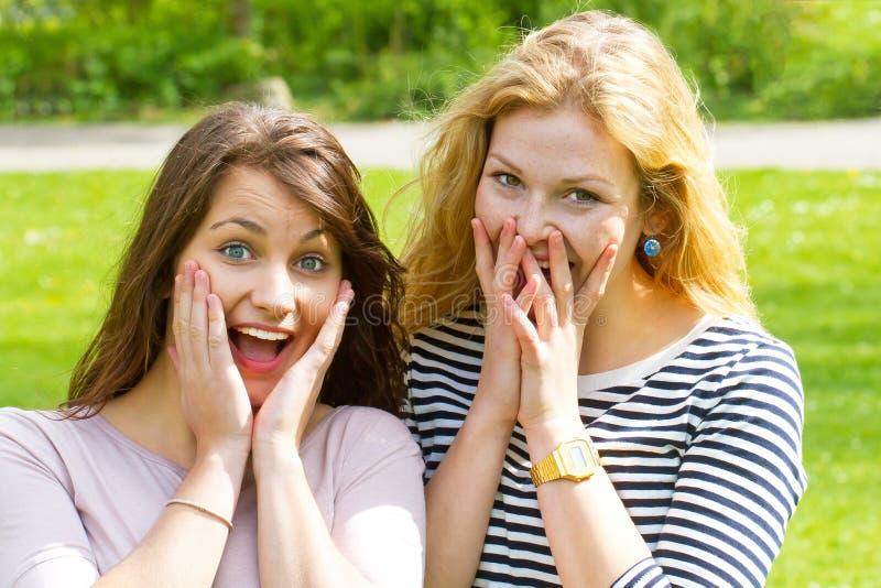 Έκπληκτα κορίτσια στοκ φωτογραφία