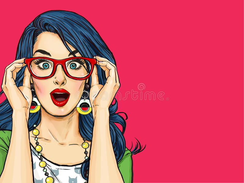 Έκπληκτη νέα προκλητική γυναίκα με το ανοικτό στόμα στα γυαλιά Κωμική γυναίκα διανυσματική απεικόνιση