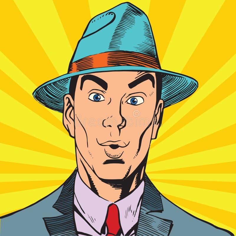Έκπληκτο πορτρέτο άτομο Printavatar στο καπέλο διανυσματική απεικόνιση