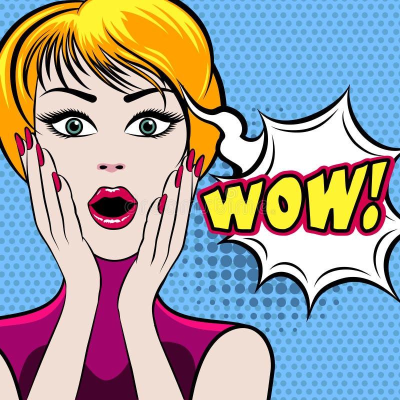 Έκπληκτο πρόσωπο γυναικών με τη φυσαλίδα ΚΑΤΑΠΛΗΚΤΙΚΗΣ ΕΠΙΤΥΧΊΑΣ απεικόνιση αποθεμάτων