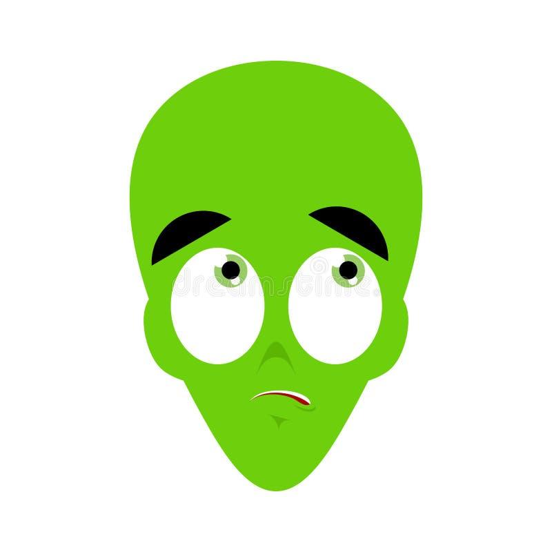 Έκπληκτο UFO Emoji Πράσινη αλλοδαπή έκπληκτη πρόσωπο συγκίνηση martia διανυσματική απεικόνιση