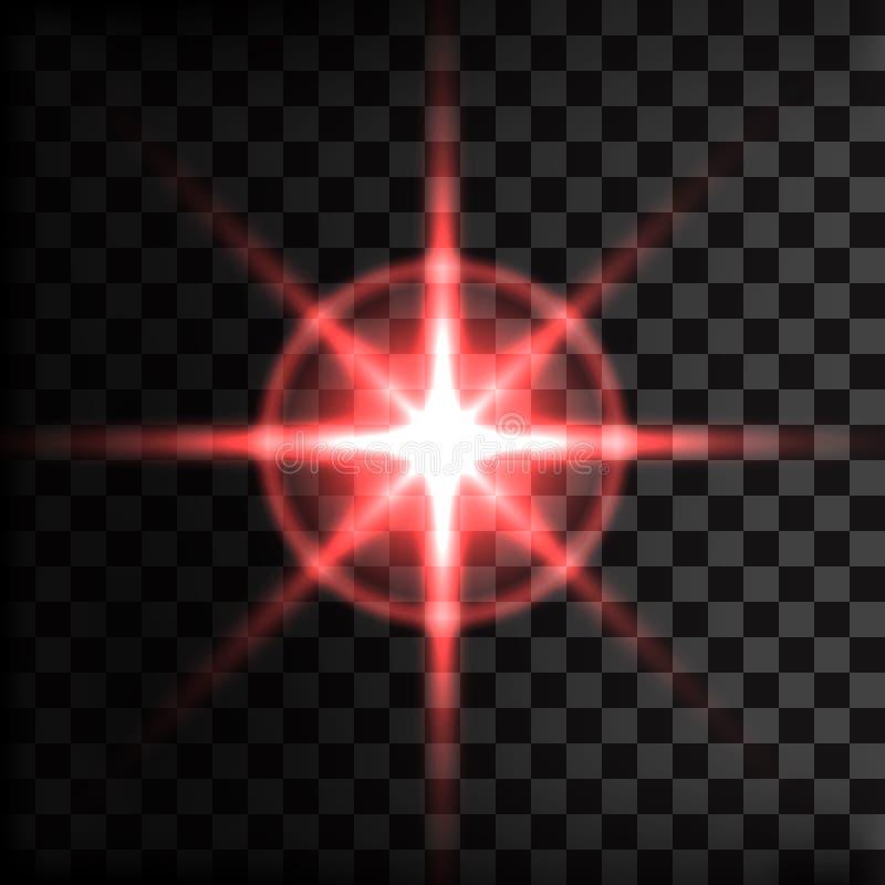 Έκρηξη έκρηξης πυράκτωσης ελαφριά με διαφανή Διανυσματική απεικόνιση για τη δροσερή διακόσμηση επίδρασης με τα σπινθηρίσματα ακτί διανυσματική απεικόνιση