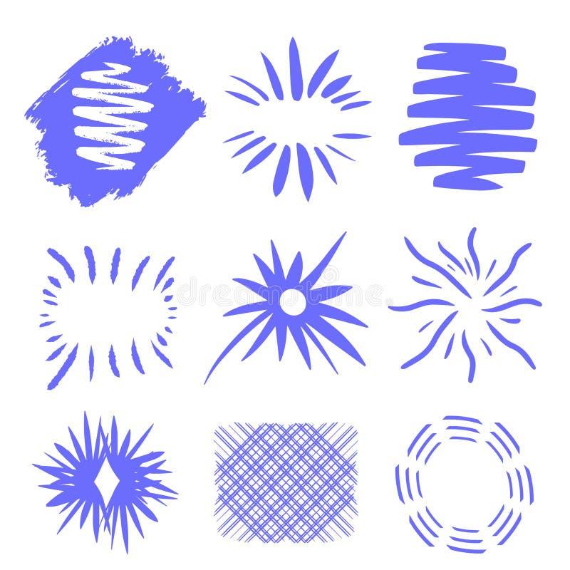 Έκρηξη ήλιων, ηλιοφάνεια έκρηξης αστεριών Ακτινοβολώντας από το κέντρο των λεπτών ακτίνων, γραμμές r Μπλε στοιχείο σχεδίου r διανυσματική απεικόνιση