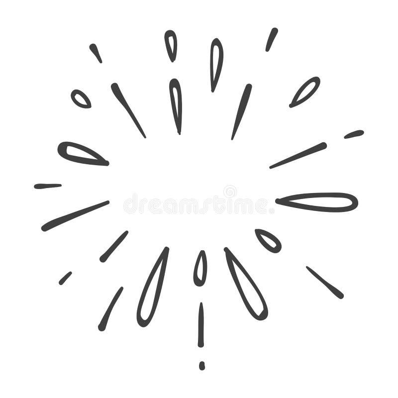 Έκρηξη ή αστέρι νερού που εκρήγνυται doodle ελεύθερη απεικόνιση δικαιώματος