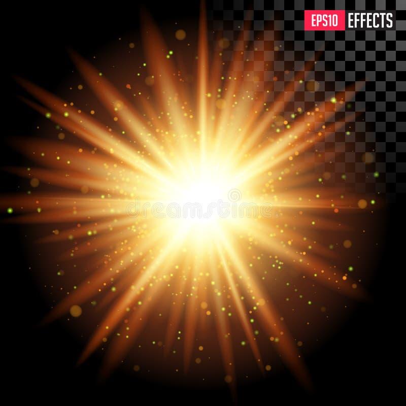 Έκρηξη αστεριών με τα σπινθηρίσματα Διανυσματική διαφανής επίδραση φλογών φακών απεικόνιση αποθεμάτων