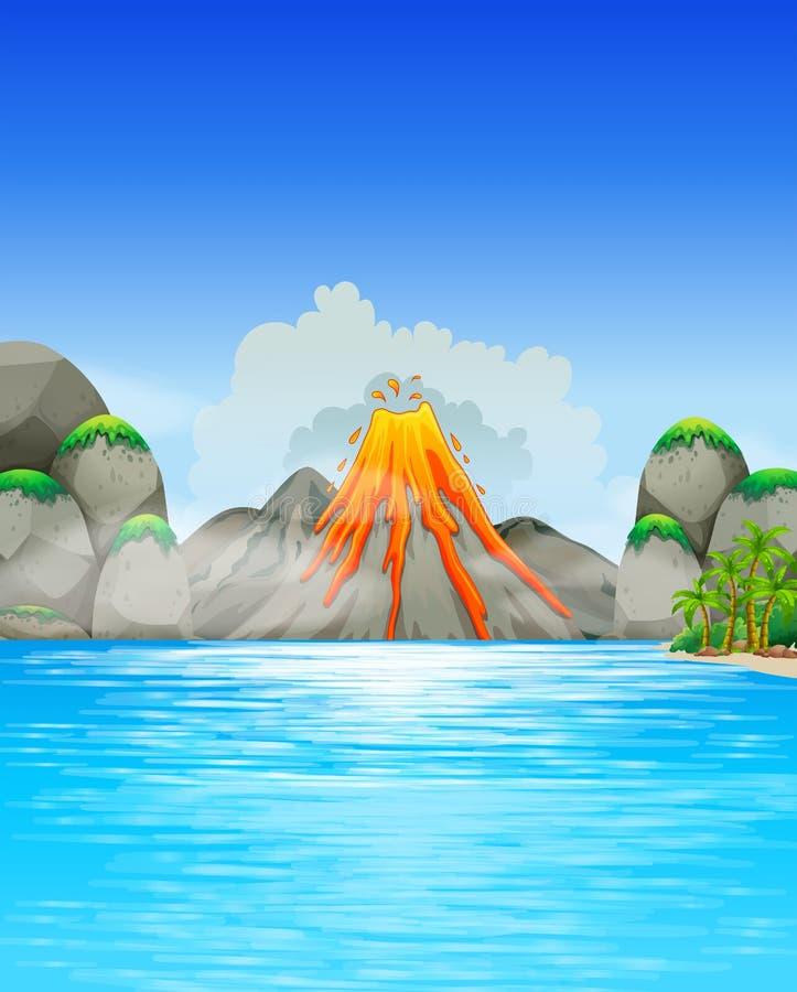 Έκρηξη ηφαιστείων από τη λίμνη διανυσματική απεικόνιση