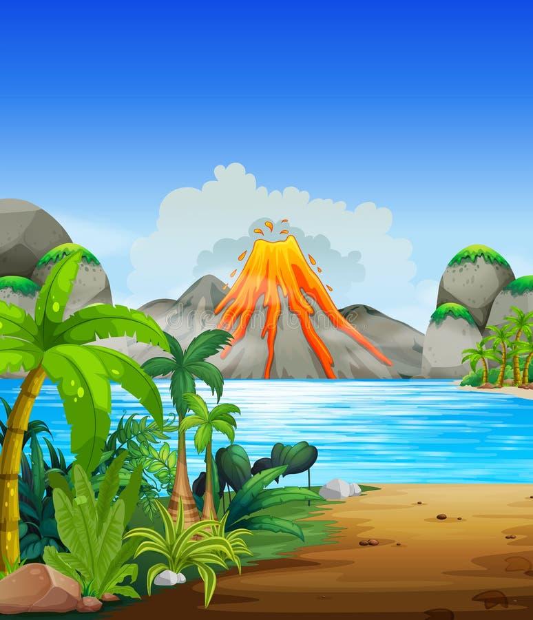 Έκρηξη ηφαιστείων πίσω από τη λίμνη ελεύθερη απεικόνιση δικαιώματος
