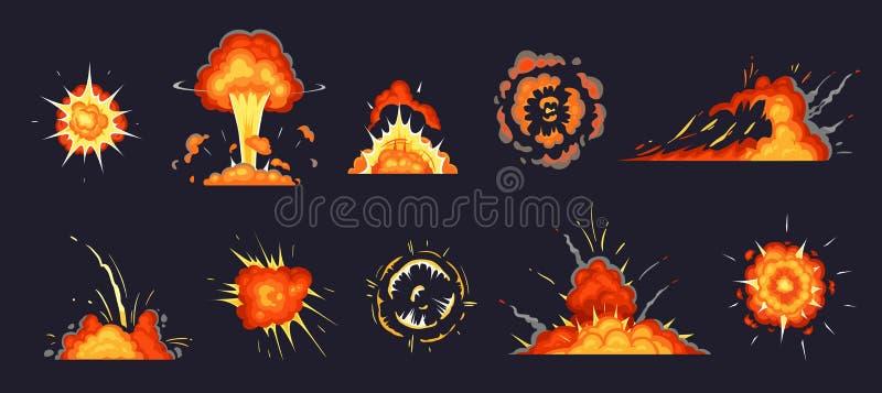 Έκρηξη κινούμενων σχεδίων Η βόμβα, ατομική εκρήγνυται την επίδραση και ο κωμικός καπνός εκρήξεων καλύπτει το διανυσματικό σύνολο  ελεύθερη απεικόνιση δικαιώματος