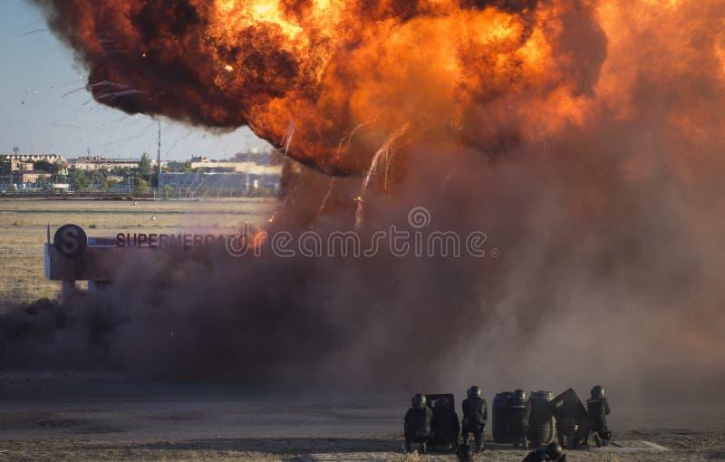 Έκρηξη σε ένα simulacrum έκτακτης ανάγκης στοκ εικόνες