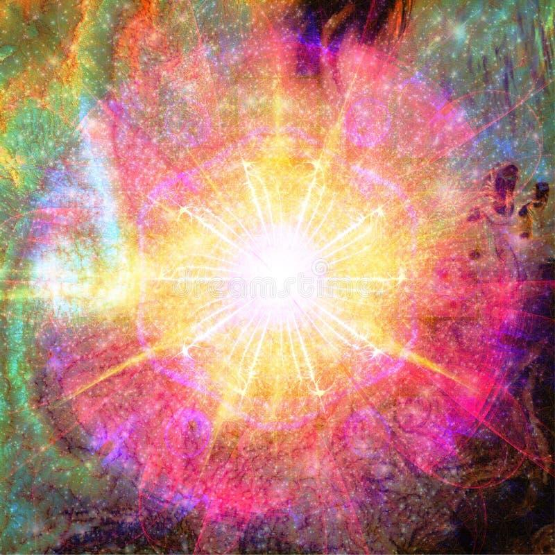 Έκρηξη των αστεριών και του φωτός | Fractal ταπετσαρία υποβάθρου τέχνης με τα στοιχεία από τη NASA/ESO στοκ εικόνες