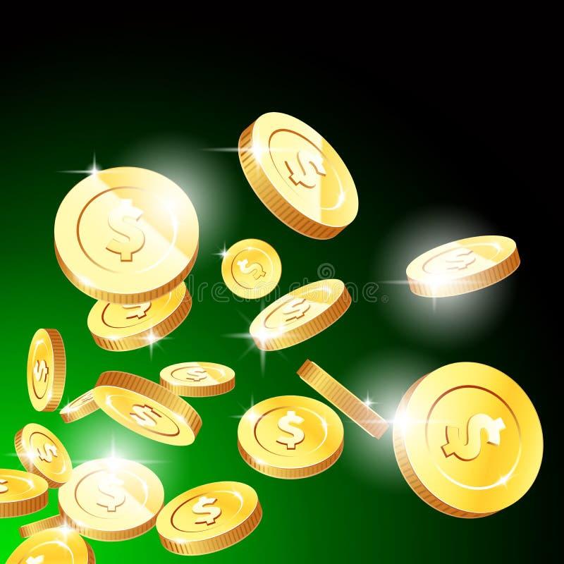 Έκρηξη των χρυσών νομισμάτων, της τύχης χαρτοπαικτικών λεσχών και της έννοιας τζακ ποτ, πετώντας χρήματα διανυσματική απεικόνιση