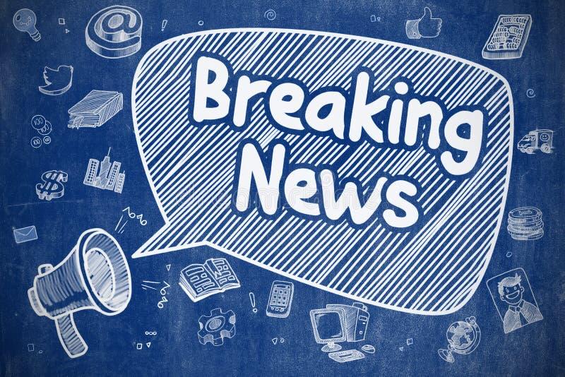 Έκτακτα γεγονότα - απεικόνιση Doodle στον μπλε πίνακα κιμωλίας απεικόνιση αποθεμάτων