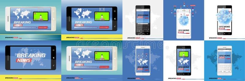 Έκτακτα γεγονότα στο smartphone με το υπόβαθρο του παγκόσμιου χάρτη Σύγχρονη κινητή TV διάνυσμα ασπίδων απεικόνισης 10 eps διανυσματική απεικόνιση