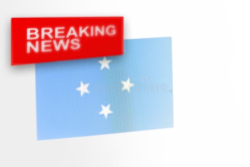 Έκτακτα γεγονότα, συνενωμένα σε ομοσπονδία κράτη της σημαίας της χώρας της Μικρονησίας και οι ειδήσεις επιγραφής στοκ φωτογραφία με δικαίωμα ελεύθερης χρήσης