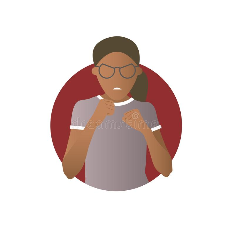 Έκφραση επιθετικότητας, μαύρη επίθεση κοριτσιών, πάλη Επίπεδο διανυσματικό εικονίδιο κλίσης απεικόνιση αποθεμάτων