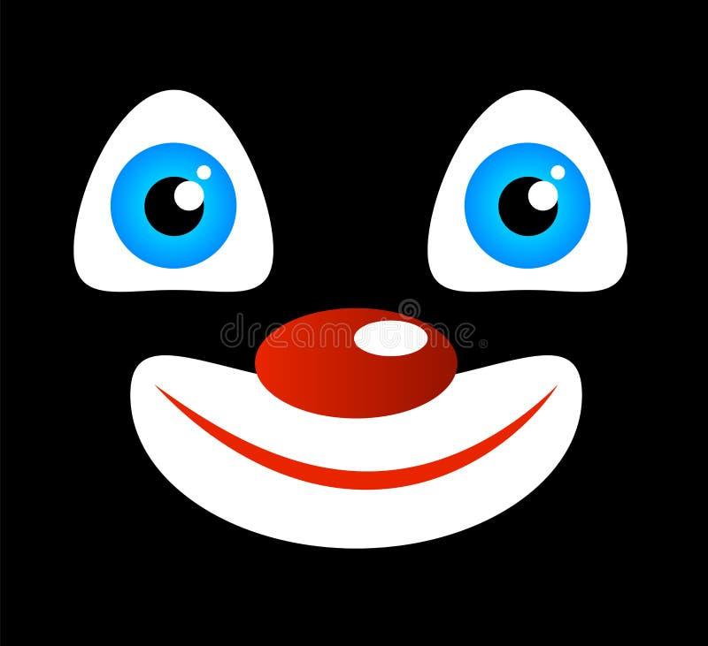 Έκφραση προσώπου ενός αστείου χαρούμενου χαμογελώντας κλόουν στο Μαύρο διανυσματική απεικόνιση