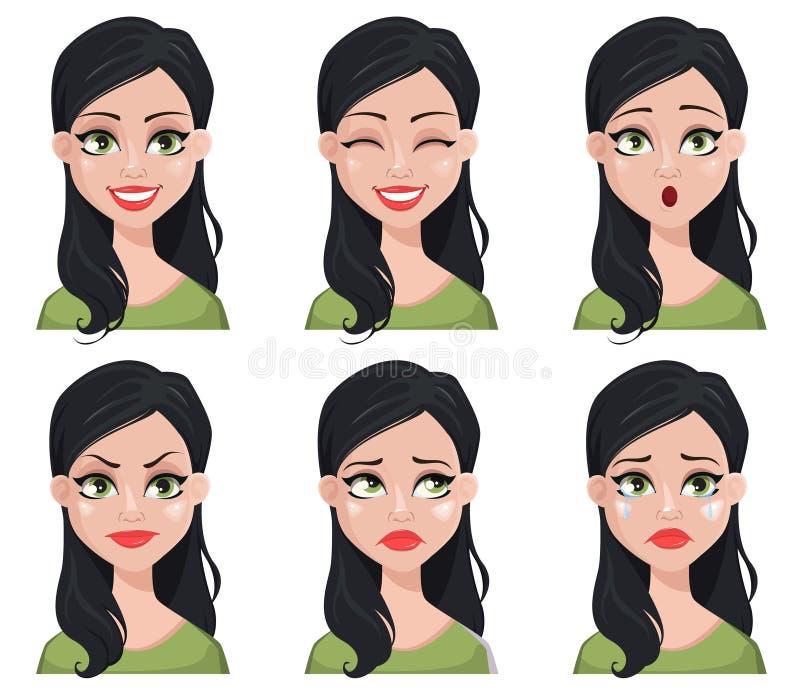 Έκφραση προσώπου της όμορφης γυναίκας brunette διανυσματική απεικόνιση