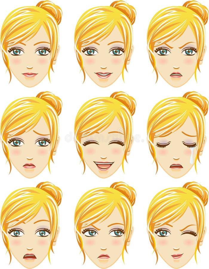 Έκφραση του προσώπου της γυναίκας (καυκάσια κάθοδος) απεικόνιση αποθεμάτων
