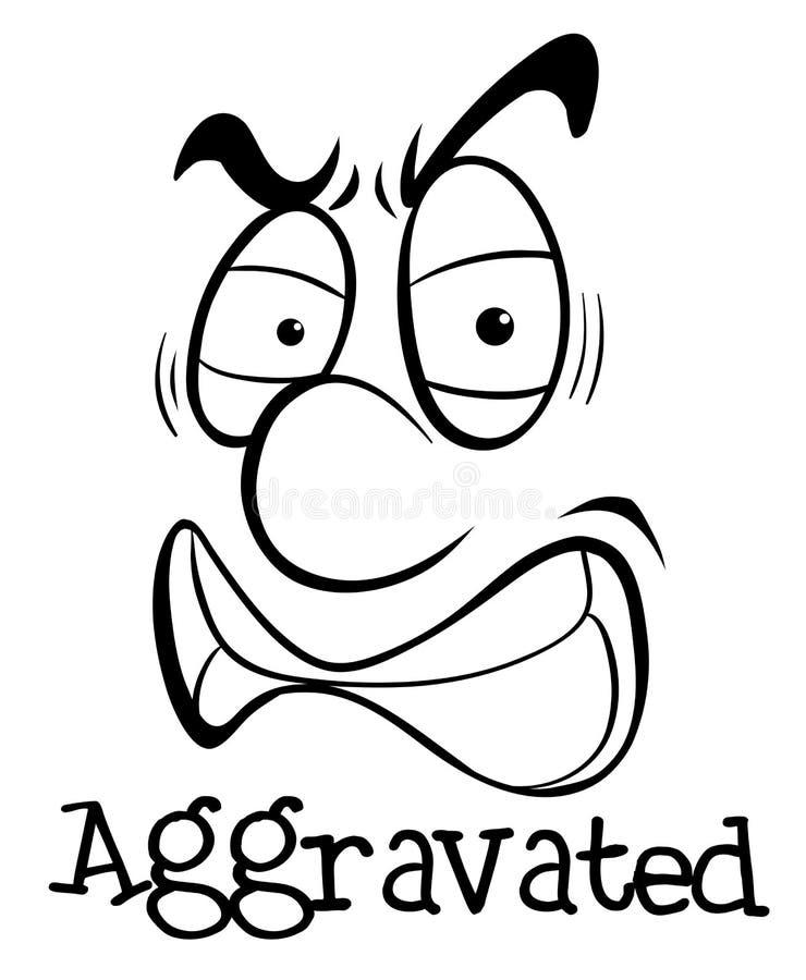 Έκφραση του προσώπου τη λέξη που επιδεινώνεται με απεικόνιση αποθεμάτων