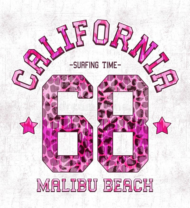 """Έκφραση: """"Καλιφόρνια, τυπογραφία παραλιών Malibu """", γραφική παράσταση πουκάμισων γραμμάτων Τ στοκ εικόνα"""