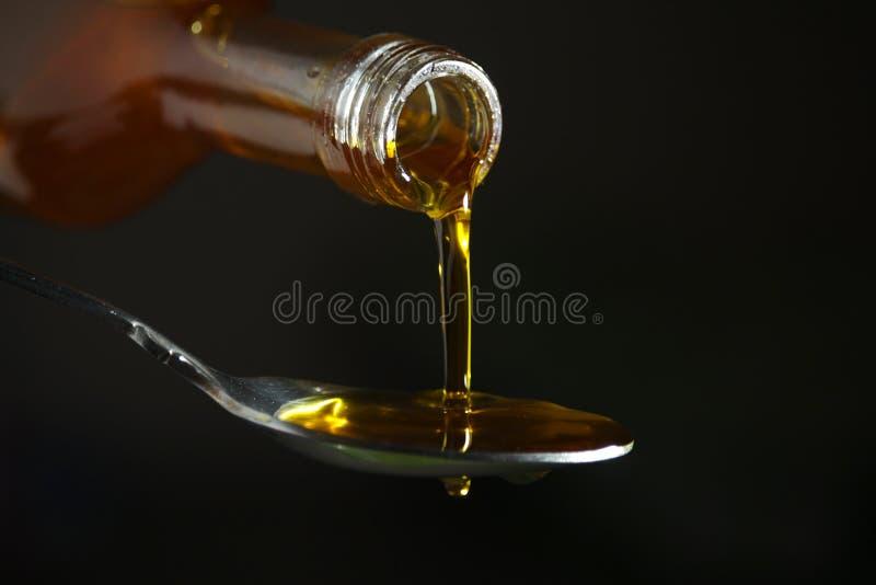 Έκχυση πετρελαίου στο κουτάλι από το μπουκάλι στοκ εικόνα με δικαίωμα ελεύθερης χρήσης