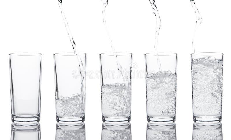 Έκχυση του φρέσκου υγιούς λαμπιρίζοντας νερού στο γυαλί στοκ φωτογραφία με δικαίωμα ελεύθερης χρήσης